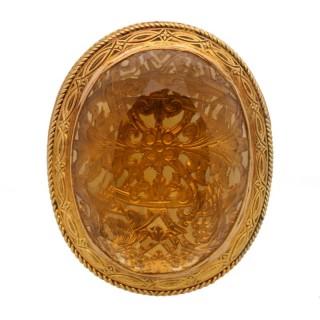 Scottish Georgian Citrine and Gold vinaigrette circa 1820