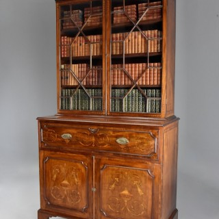 Fine quality Sheraton period mahogany secretaire bookcase with inlaid decoration
