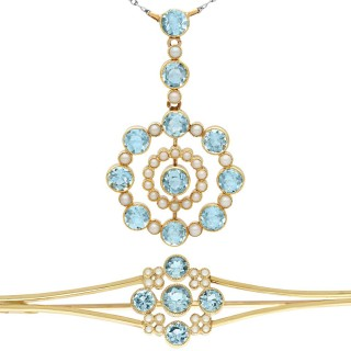 4.42 ct Aquamarine and Pearl, 15 ct Yellow Gold Pendant and Brooch Set - Antique Circa 1910