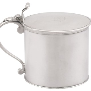 Sterling Silver Drum Mustard Pot - Antique George III 1776
