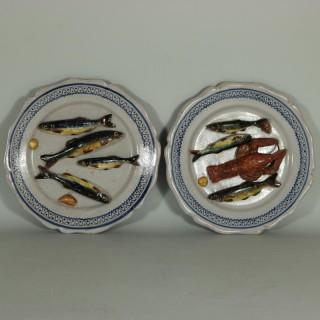 Pair Brard Palissy Majolica Palissy Fish Plates