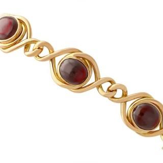 4.38ct Garnet and 15ct Yellow Gold Bracelet - Art Nouveau - Antique Circa 1890