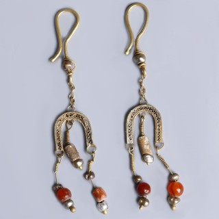 Elaborate Ancient Roman Electrum Earrings with Pearls and Carnelian Beads