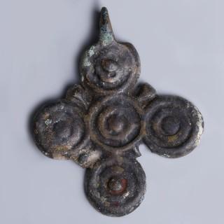 Late Byzantine Bronze Circular Cross Pendant