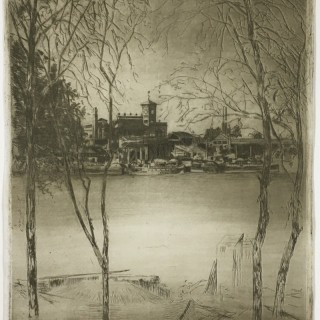 Theodore Roussel - Laburnums at Battersea - etching