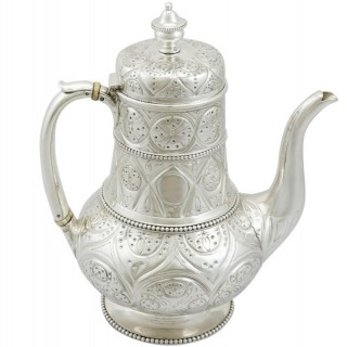 Sterling Silver Coffee Pot by John Hunt & Robert Roskell - Antique Victorian