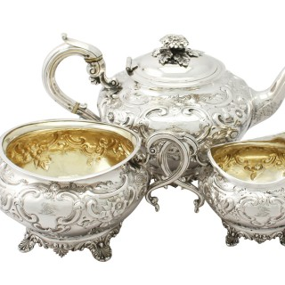 Sterling Silver Three Piece Tea Service - Antique George III (1802)