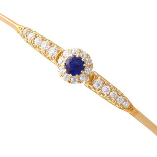 0.59 ct Sapphire and Diamond, 14 ct Yellow Gold Bangle - Antique Circa 1895