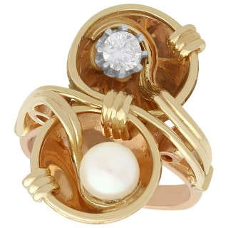 0.23 ct Diamond and Pearl, 14 ct Rose Gold Twist Ring - Vintage Circa 1950