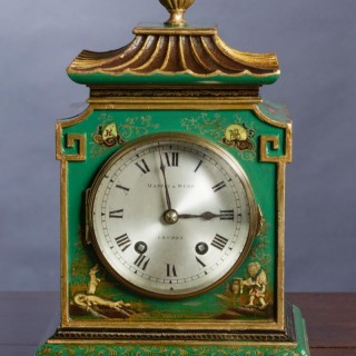 Edwardian Chinoiserie Decorated Mantel Clock