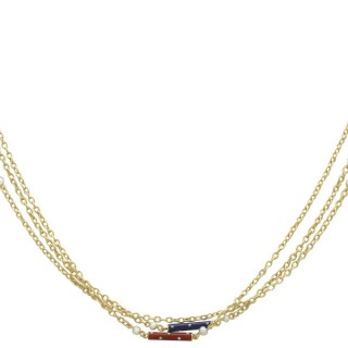 Seed Pearl and Enamel, 9 ct and 18 ct Yellow Gold Necklace - Antique Victorian
