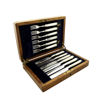Antique Victorian Sterling Silver & Mother of Pearl Dessert/Fruit Knives & Forks Set 1898