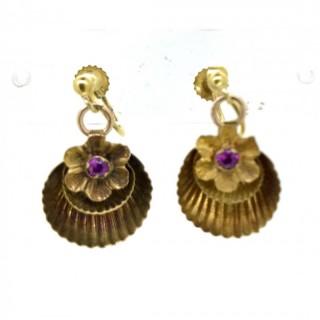 Gold and Garnet Shell Earrings