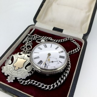 Large Silver Pocket Watch and Chain