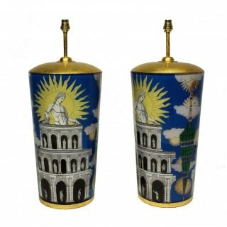 A PAIR OF LARGE HAND PAINTED FORNASETTI STYLE LAMPS