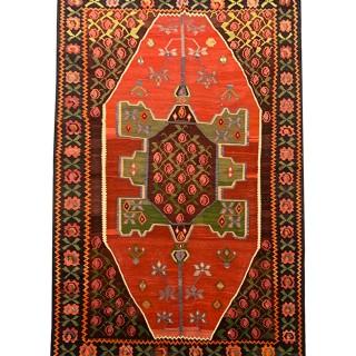 Antique Kurdish Handwoven Wool Persian Kilim Rug - 147x248cm