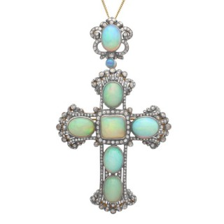 20.34ct Opal and 4.63ct Diamond, Silver Gilt Cross Pendant / Brooch - Antique Circa 1860