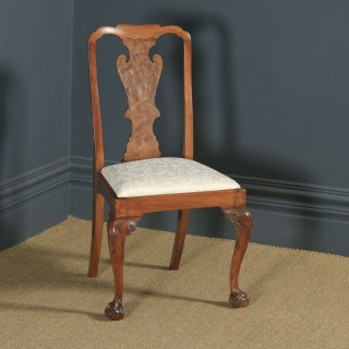Antique English Victorian Queen Anne Style Burr Walnut Dining / Side / Office Desk Chair (Circa 1890)