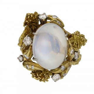 Moonstone and diamond ring by Eugene Meister, circa 1960.