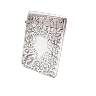 Antique Edwardian Sterling Silver Card Case 1907