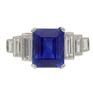 Art Deco Ceylon sapphire and diamond ring, English, circa 1925.