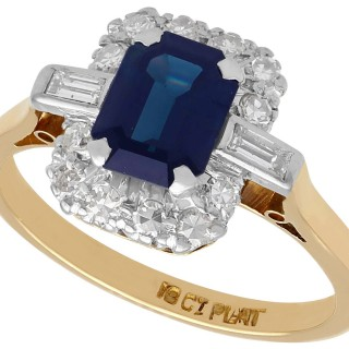 1.85 ct Sapphire and 0.34 ct Diamond, 18 ct Yellow Gold Dress Ring - Vintage Circa 1950