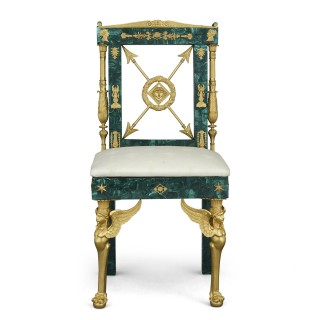 Neoclassical Style Malachite and Gilt Bronze Chair
