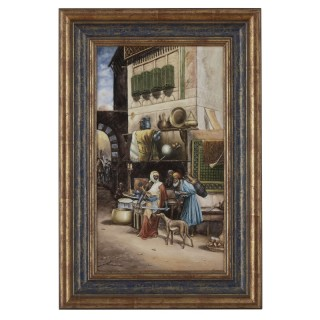 Antique KPM Style Porcelain Plaque of Orientalist Bazaar Scene