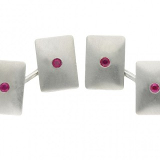 Vintage Tiffany & Co. ruby cufflinks, American, circa 1950.