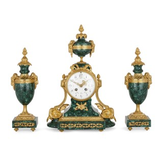 Antique Neoclassical Style French Mantel Clock with Twin Vases