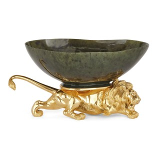 20th Century Silver-Gilt and Nephrite Crouching Lion Decorative Bowl