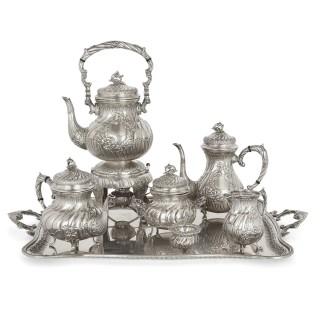 20th Century Spanish Silver Rococo Style Tea and Coffee Service