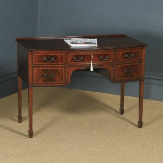Antique English Edwardian Georgian Style Flame Mahogany Bow Front Ladies Writing Table Desk (Circa 1910)