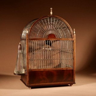 A Rare Regency Wall Hanging /Standing Mahogany And inlaid Bird Cage.