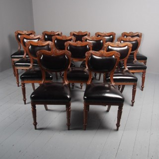 Antique Set of 14 William IV Scottish Oak Dining Chairs