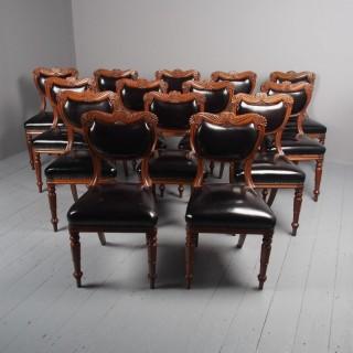 Antique Set of 14 William IV Scottish Oak Dining Chairs