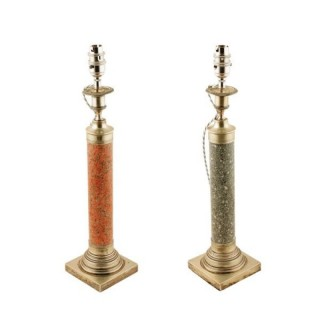 Pair of Marble & Silver Plate Table Lamps