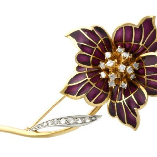 0.47ct Diamond and Plique a Jour Enamel, 18 ct Yellow Gold Brooch - Vintage (1954)