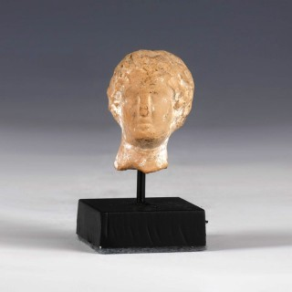 Greek Stone Head of a Male Youth