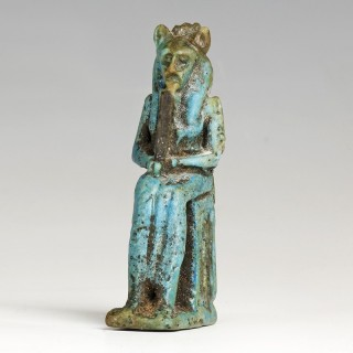 Exquisite Egyptian Faience Amulet of a Lion-Headed Goddess