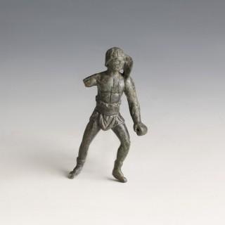 Roman Bronze Retiarius Gladiator Statuette