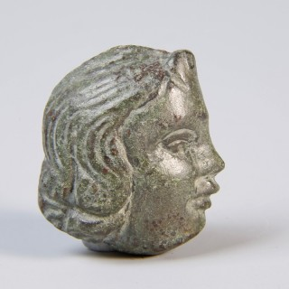 Roman Bronze Cupid's Head Applique