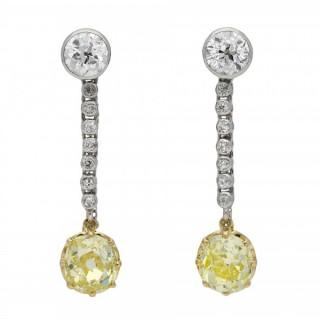 Old mine fancy yellow diamond drop earrings, circa 1910.