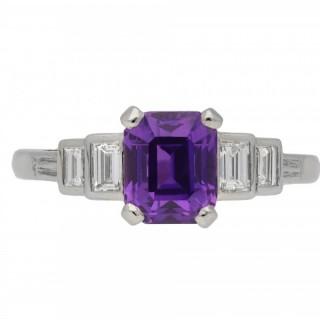 Antique purple Ceylon sapphire and diamond ring, circa 1920.