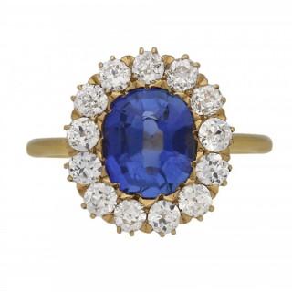 Victorian Ceylon sapphire and diamond coronet cluster ring, circa 1890.