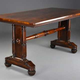 Fine quality William IVth rosewood centre or writing table, of Gillows style and quality
