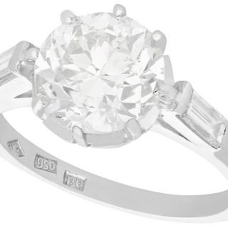 2.78 ct Diamond and Platinum Solitaire Engagement Ring - Art Deco - Vintage Circa 1940