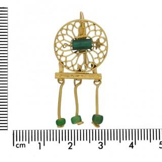 Ancient Roman beaded drop earrings, circa 2nd century AD.