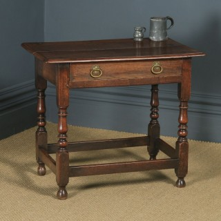 Antique English Late 17th Century Oak Occasional Hall Writing Lowboy Side Table (Circa 1680)