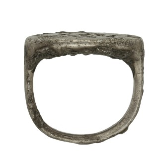 Ancient Greek silver ring with hunting scene, circa 2nd century BC.